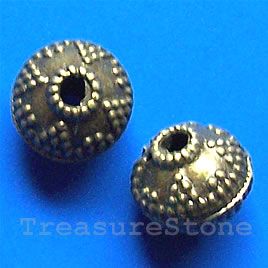 Bead, antiqued brass finished, 12x11mm. Pkg of 10.