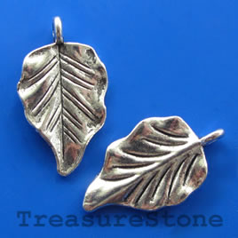 Pendant/charm, silver-finished, 18x26mm leaf. Pkg of 6.