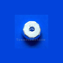 Bead, silver-finished, 7x7x2.5mm. Pkg of 20.