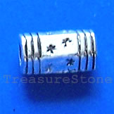 Bead, antiqued silver-finished, 5x8mm tube. Pkg of 20.