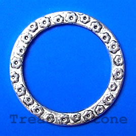 Pendant/Circle, silver-finished, 32/24mm. Pkg of 6.