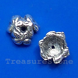 Bead cap, antiqued silver-finished, 8x2mm. Pkg of 28