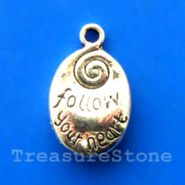 Pendant/charm, 12x17mm follow your heart. Pkg of 6.