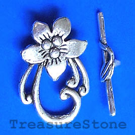 Clasp, toggle, antiqued silver-finished, 23x30mm. pkg of 6.