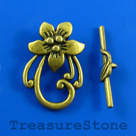 Clasp, toggle, brass-colored, 20x29/30mm. Pkg of 6.