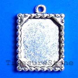 Pendant/charm, silver-finished, 20x16mm frame. Pkg of 6.