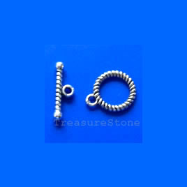 Clasp,toggle, antiqued silver-finished, 12mm. Pkg of 15.