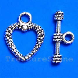 Clasp, toggle, antiqued silver-finished, 16/19mm. Pkg of 12.