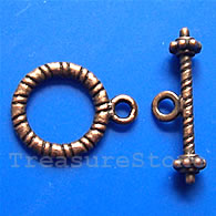 Clasp, toggle, antiqued copper-finished, 12/20mm. Pkg of 12.
