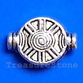Bead, antiqued silver-finished, 10x15x3mm. Pkg of 15.