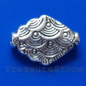 Bead, antiqued silver-finished, 14x11mm. Pkg of 12.
