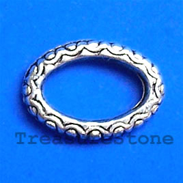 Bead, antiqued silver-finished, 16x12mm oval circle. Pkg of 15.
