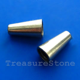 Cone, grey-finished, 8x15mm. Pkg of 6.