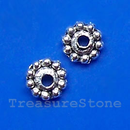 Bead, antiqued silver-finished, 11x13mm dotted rondelle. 25 pcs