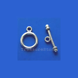 Clasp, toggle, antiqued silver-finished,9mm. Pkg of 15.