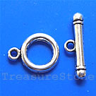 Clasp, toggle,antiqued silver-finished, 12mm. Pkg of 12.