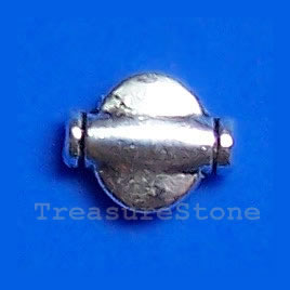 Bead, antiqued silver-finished, 7x9x3mm. Pkg of 20.