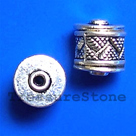 Bead, antiqued silver-finished, 7x12mm. Pkg of 8.