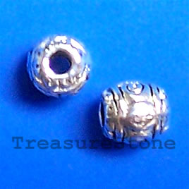 Bead, antiqued silver-finished, 6mm. Pkg of 25.