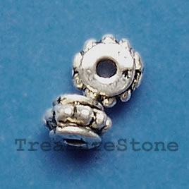 Bead. antiqued silver-finished, 5x2mm. Pkg of 20.