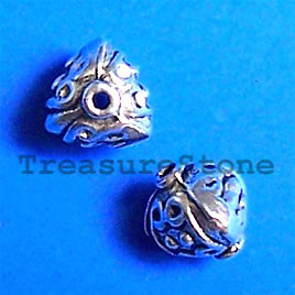 Bead, antiqued silver-finished, 9mm. Pkg of 20.