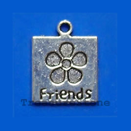 "Pendant/charm, silver-finished, 14mm ""Friends"". Pkg of 8."