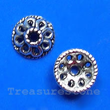 Bead cap, antiqued silver-finished, 10x4mm. Pkg of 20.