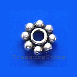Bead, antiqued silver-finished, 5mm beaded rondelle. Pkg of 30.