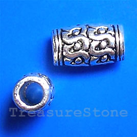 Bead, antiqued silver-finished, large hole, 7x12mm tube. Pkg 10.
