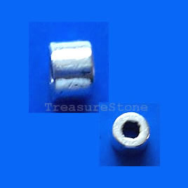 Bead, silver-finished, 6x4.5mm tube. Pkg of 20.