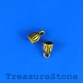 Bead, brass colored, 6mm cord end. Pkg of 8.