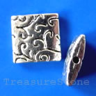 Bead, silver-finished, 14mm puffed square. Pkg of 3