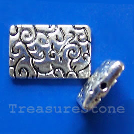 Bead, silver-finished,15x22x4mm flat rectangle. Pokg of 3.