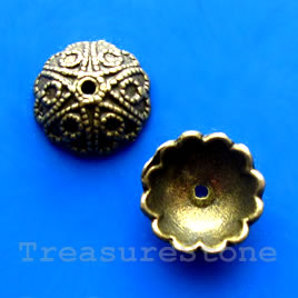 Bead cap, antiqued brass finished, 12mm. Pkg of 16.