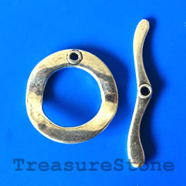 Clasp, toggle, antiqued silver-finished, 30/46mm. pkg of 2.