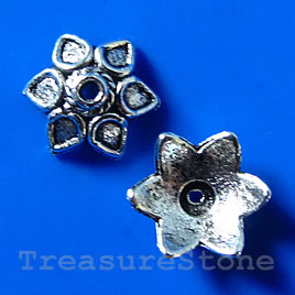 Bead cap, antiqued silver-finished, 10x4mm. Pkg of 18