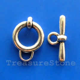 Clasp, toggle, antiqued silver-finished, 16/24mm. Pkg of 5.