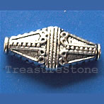 Bead, antiqued silver-finished, 10x22x5.5mm. Pkg of 8
