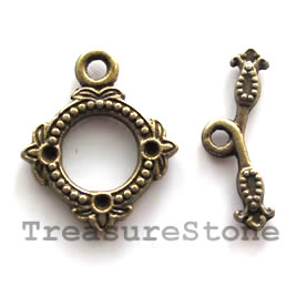 Clasp, toggle, antiqued brass-finished,18mm. Pkg of 6.
