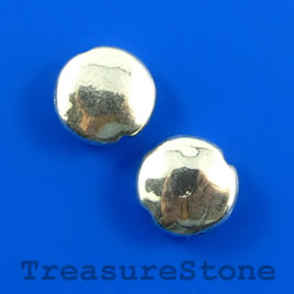 Bead, silver-finished, 9mm puffed round. Pkg of 18.