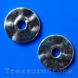 Bead, silver-finished, 17/4mm. Pkg of 8.