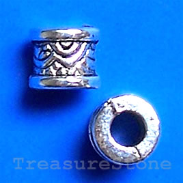 Bead, antiqued silver-finished, large hole, 7x6mm tube. 20pcs