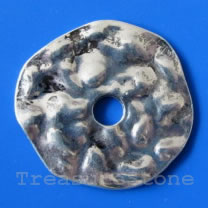 Bead, silver-finished, 37x40/7mm. Pkg of 2.