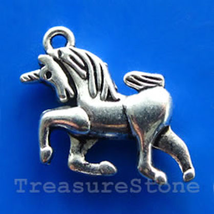 Pendant/charm, silver-finished, 18x20mm unicorn. Pkg of 8.