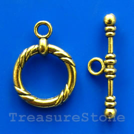 Clasp,toggle,antiqued gold-finished, 22/34mm. Pkg of 4.