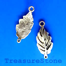 Link, silver-finished,11x21mm leaf. Pkg of 12.