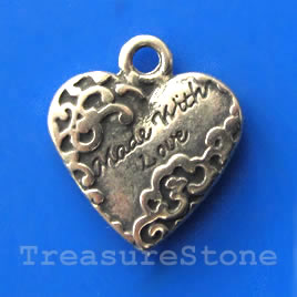 Pendant/charm, grey-finished, 17mm Made with Love. Pkg of 4.