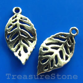 Pendant/charm, silver-finished,12x20mm filigree leaf. Pkg of 15.
