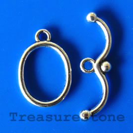 Clasp, toggle, antiqued silver-finished, 13x17mm. Pkg of 8.