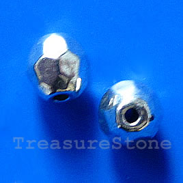 Bead, silver-finished, 7mm faceted round. Pkg of 15.